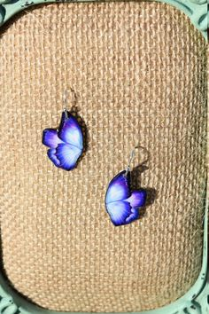 Purple Butterfly Earrings by ValeriesVanityMirror on Etsy