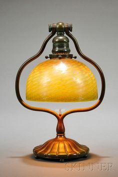 Tiffany Studios Table Lamp Favrile Glass And Verdigris Bronze New York,  Early 20th Century Green