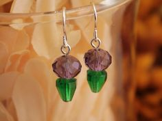 Purple Plant Earrings