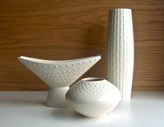 Potshots: Hornsea Pottery Studio Craft, Who needs colour? Mid Century Decor, Mid Century Design, Ceramic Decor, Ceramic Art, Hornsea Pottery, Pastel Decor, Sculptures Céramiques, White Clay, White Vases