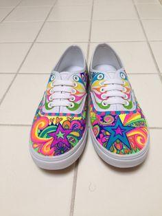 Custom Vans - Neon Stars and Swirls on Etsy, £63.81