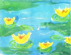 Claude Monet's famous water lily pond painting is easy to imitate with just a couple art supplies you may already have – oil pastels and watercolor paint.