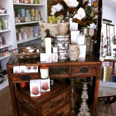 Habitania Campsie. Old Chinese Console or Hall table with 3 drawers. Ecoya Candles and beautiful Magnolias.