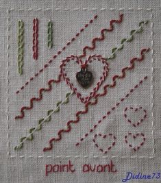 SAL mon cahier de broderie - feuillet 1 - page 1 - zoom3 Embroidery Sampler, Embroidery Stitches, Hand Embroidery, Embroidery Designs, Stitch Book, Cross Stitch, Stitch 2, Running Stitch, Blanket Stitch