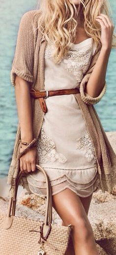 Oversized Cardigan With Light Weight Chiffon Dress...adorable!