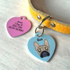 Etiqueta de perro ID personalizado corazón por HoobynooWorld