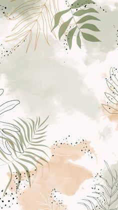 Beige leafy watercolor mobile phone wallpaper vector | premi