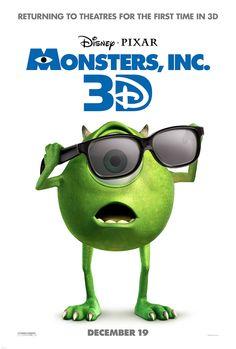 Disney Pixar MONSTERS INC 3D Release Date 12/19 - Poster & Trailer