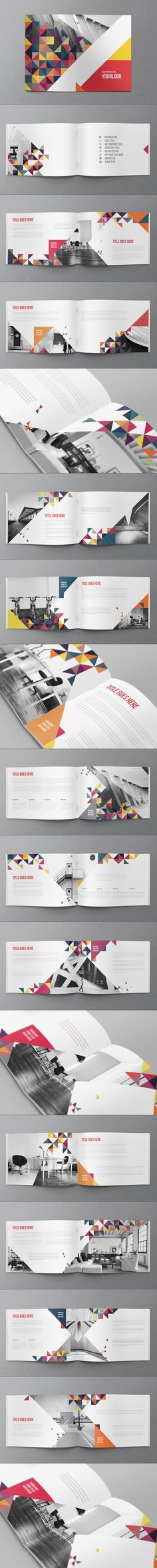 This colorful  brochure stood out to me because of the triangle shapes and bright colors that was used. It gives it a a very geometrical feel, while using the black and white photos to break up the colors.