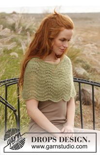 Knitted DROPS shoulder warmer with wavy pattern in 2 threads Kid-Silk. ~ DROPS Design - free