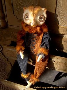 Owl Art Doll Halloween Folk Art by Melissa Valeriote