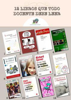 12 libros que todo docente debe leer. http://elblogdemanuvelasco.blogspot.com.es/2014/04/12-libros-que-todo-docente-debe-leer.html