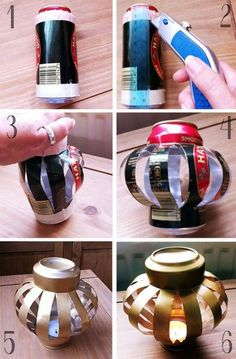 Reused beer Can Lanterns by Bohemian Summer. Doesn't have to be beer, can be anything tall I suppose :) Christmas Lanterns, Christmas Diy, Christmas Decorations, Christmas Ornaments, Beer Can Christmas Tree, Halloween Lanterns, Outdoor Christmas, Homemade Christmas, Holiday Decor