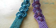 Macrame wavy chevron bracelets with beads / Izabela craftwork (KnotsARTbeads)