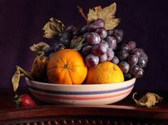 """Saatchi Art Artist Cecilia Gilabert; Photography, """"Still life on fruit bowl with oranges and grapes"""" #art"""
