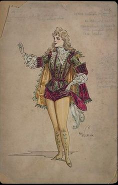 Costume design by Wilhelm (Charles William Pitcher, possibly for Miss Millie Legarde as Captain Spanker in the pantomime Dick Whittington as performed at the Adelphi Theatre on December Wilhelm Pantomime Designs. Theatre Costumes, Movie Costumes, Female Character Design, Vintage Paper Dolls, Fantasy Illustration, Historical Costume, Cute Characters, Sleeve Designs, Fashion Plates