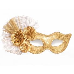 Metallic Gold Masquerade Mask With Fabric Roses - Made To Order - Lace... ($65) ❤ liked on Polyvore featuring costumes, masks, accessories, mascara, flower costume, lady costumes, carnival womens costumes, masquerade halloween costume and masquerade costume