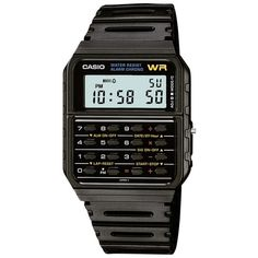 Casio CA-53W-1ER Unisex Calculator Resin Strap Watch, Black ($43) ❤ liked on Polyvore featuring jewelry, watches, black watches, black digital watch, casio watches, water resistant watches and rectangle watches
