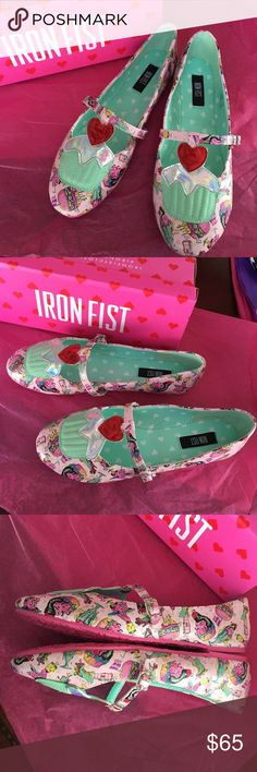 Iron Fist Death's Diner Cupcake Flats Brand New! Never Worn!! Super adorable Iron Fist flats!!! Iron Fist Shoes Flats & Loafers