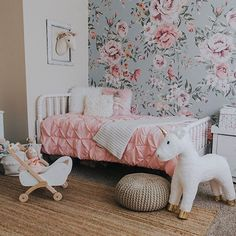 """""""The big girl shared room is almost done and I think I'm moving on in! 😍"""" - Is there room for us too? Girls Flower Bedroom, Flower Nursery, Baby Bedroom, Girls Bedroom, Floral Bedroom, Bedrooms, Girl Decor, Baby Room Decor, Bedroom Decor"""