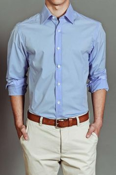 He can never go wrong with a basic button down with khakis. Love the gingham in the cuff!