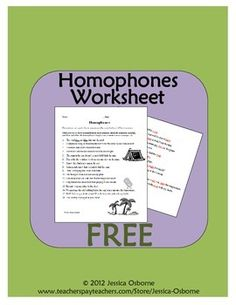 FREE Homophones Identifying Worksheet with answer key