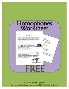 FREE Homophones Identifying Worksheet with answer key