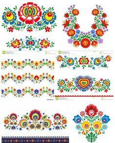 Embroidery Patterns, Print Patterns, Sewing Patterns, Folk Art Flowers, Flower Art, Mesto, Polish Folk Art, Russian Folk Art, Motif Design