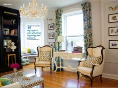 I.Love.This Neutral room color, with pops of bright colors and patterns.  Perfection.