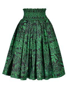 Hula Pa'u Skirt with Heliconia Print / Green / G1937