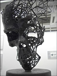 Skull. Japanese modern artist Tomohiro Inaba creates whimsical sculptures of steel