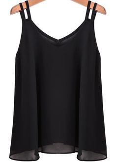 To find out about the Black Spaghetti Strap Loose Chiffon Cami Top at SHEIN, part of our latest Tank Tops & Camis ready to shop online today! Top Chic, Chiffon Cami Tops, Black Spaghetti, Girl Fashion, Fashion Outfits, Couture Tops, Black Tank Tops, Black Shirts, Mode Outfits