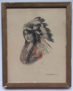 Very Rare Antique Hand Colored Signed Indian Maiden 11x14 Framed Wavy Glass Orig #Vintage