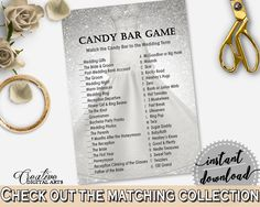 Candy Bar Game in Silver Wedding Dress Bridal Shower Silver And White Theme, candy description, special day, party organizing - C0CS5 #bridalshower #bride-to-be #bridetobe
