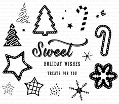 Sweet Holiday Wishes Stamp Set: Papertrey Ink Clear Stamps Dies Paper Ink Kits Ribbon