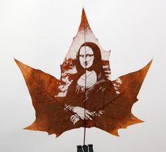 For Family - Leaf Carving Art Of Mona Lisa www.ezebee.com/leafcarvingart