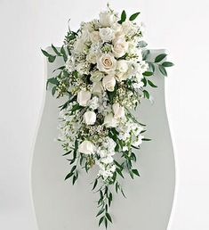 Cascading bouquet at the end of the pews - down the aisle at your wedding… Cascading Wedding Bouquets, Summer Wedding Bouquets, Cascading Flowers, Cascade Bouquet, Bride Bouquets, Bridal Flowers, Floral Wedding, Pew Flowers, Boquet