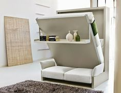 For small spaces or a pool house this would be awesome. Cool Murphy bed.