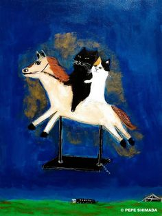 pepeart 2 cats go riding