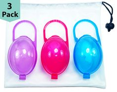 Set of 3, Clear Pink with Free Mesh Sack Nipple Shield Case /& Pacifier Case Set of 3 purifyou PurePouch BPA-Free Soother Pod