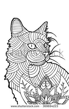 Coloring book page for adults, bohemian style cat - stock vector ...