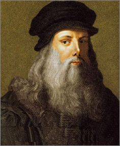 In this picture you see the great inventor Leonardo Da Vinci. People are admiring him, because of his great inventions and thinking wise. Some people even try the inventions that Leonardo Da Vinci only had draft on paper yet.