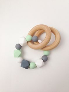 Mint Silicone Teething Ring, Wooden Teether, Infant Rattle, Tula Teether, Silicone Teether, Silicone Ring Teether, Silicone Bead Teether