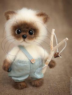 Купить Проказник Том - бежевый, кот, котик, котенок, котенок вязаный, котенок в подарок