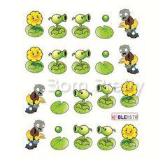 $2.86 1 Sheet Cartoon Sunflower Smiling Face Pattern Nail Art Water Decals Transfers Sticker - BornPrettyStore.com