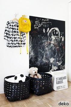 The chalkboard wall is a great way to let your kids be creative, but not ruin walls in the new home