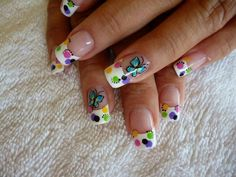 Adorable Butterfly & Polka Dots On a Classic French Manicure! Cute Nail Art, Cute Nails, Mani Pedi, Manicure And Pedicure, Nails 2015, Classic French Manicure, Nail Decorations, Simple Nails, Easy Nails