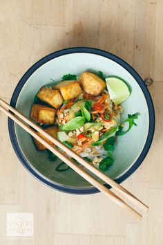 #Birthday #Asian #Noodle #Salad with Tangy Peanut Sauce & Baked Tofu