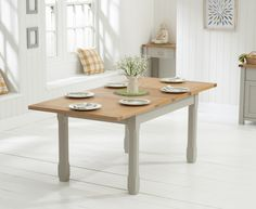 Buy the Somerset 130cm Oak and Grey Extending Dining Table at Oak Furniture Superstore