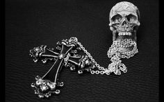 Cross necklace from Prague and skull (a gift from my grandma...!)